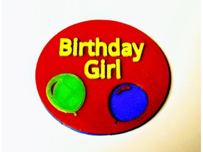 Multicolored Happy Birthday Button with magnetic back