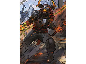 Angrath, Captain of Chaos - stained glass - litho