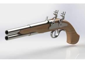 Vertical Dual Barrel Flintlock Pistols