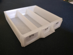 Resistor Storage Drawer - Three Compartments, Three Labels Version