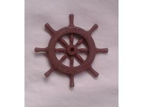 Wood ship's wheel - Barre à roue