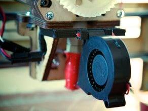 Clip-on Printrbot brushless blower turbine fan mount