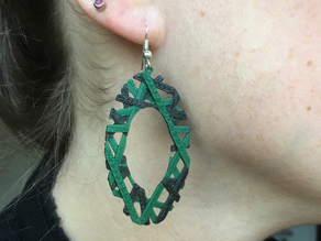 Layered Oval Crisscross Earrings