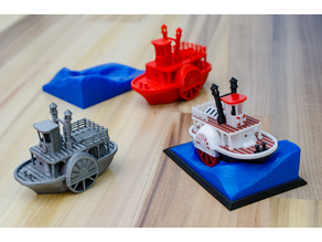 Old paddle-wheel steam boat with display stand (visual benchy)