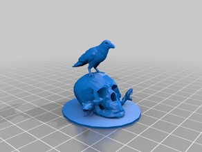 Crow Skull Snake Mouse Statue