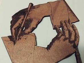Laser-Cut Escher Hands