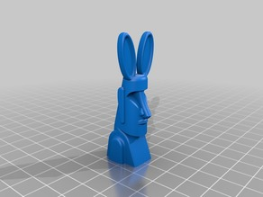 Easter Island Moai with Bunny Ears