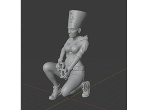 Modern Nefertiti, sitting full body