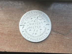 New Orleans Sewage and Water Board Crescent Box Water Meter Moon & Stars