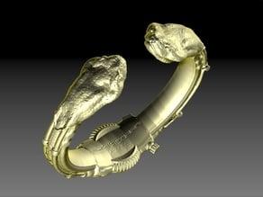 SteamPunk Bracelet Snake Heads