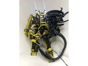 DIY Alien vs. Power Loader fight with LED lights
