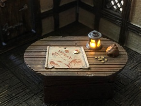 28mm Wooden Table with Flickering Lantern and Swappable Tops