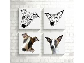 Bowie I Greyhound Dog Wall Sculpture 2D