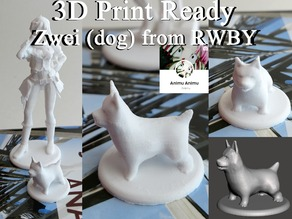 3D PRINT READY!! Zwei (dog) from RWBY