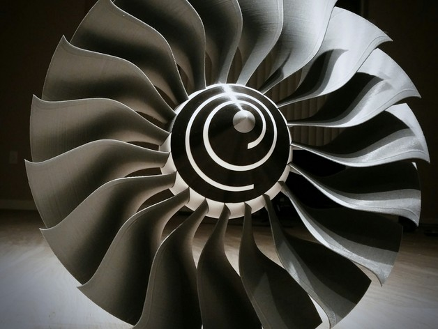 Jet Engine Fan Blades : High bypass jet engine fan by catiav ftw thingiverse