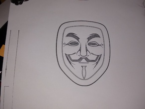 V for Vendetta mask gcode drawing (for Pen Adapter)