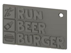 Run Beer Burger keychain
