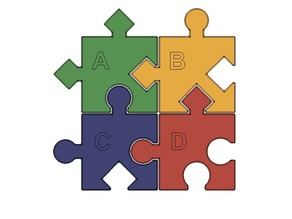 Jigsaw Puzzle, 4 Distinct Pieces, Shapes and Patterns