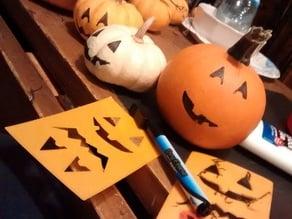 Pumpkin faces stencil