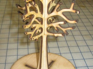 Lasered Jewelry Tree with base.