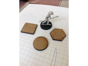 "Lasercut 25mm 1"" MDF Miniature Bases"