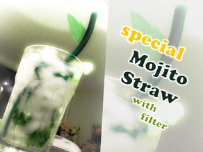 A Special Mojito Straw with filter and mint leaf design