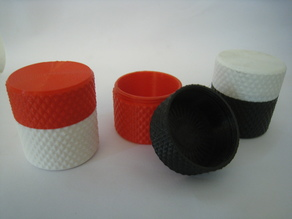 Knurled container with screw on lid