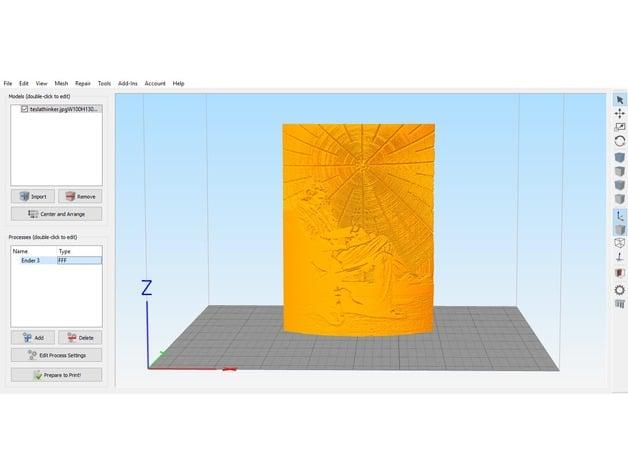Simplify 3D Ender 3 Profile + Nikola Tesla image to Lithophane by