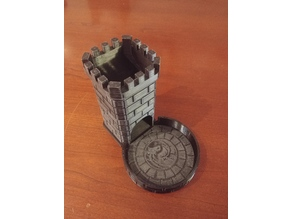Dice Roller Tower - Decorated Round Tray - lay flat with top cover for dice storage.