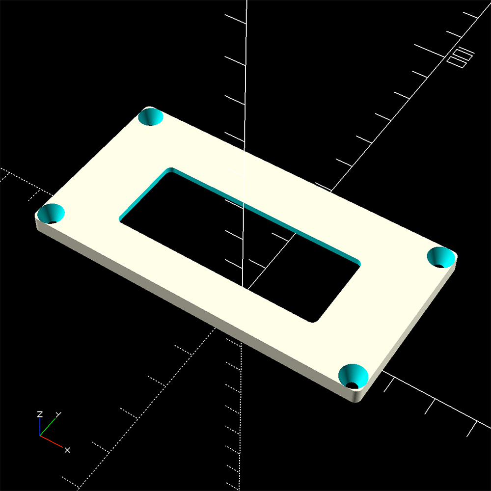 Top clock case openScad