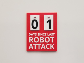Robot attack safety counter sign with tags