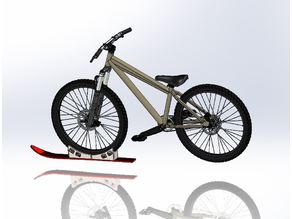 "Bike Ski, Strap Mounted Ski for Bike Tires 26"" 27."" or 29"""