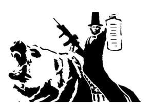 Abraham Lincoln riding bear stencil