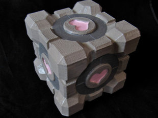Portal Companion Cube (derivative, with hearts)