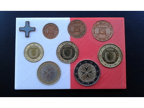 Malta coins - display board