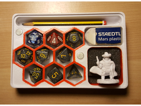 Custom x9 dice, pencil, rubber, figure holder