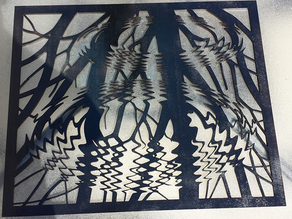 Laser cut ripples on a pound mc escher