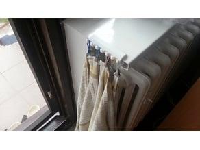 Hooks for dish towels on window ledge