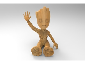 baby groot sitting waving