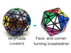 Face- and Corner-Turning Icosahedron modified from VeryPuzzle Lovebird