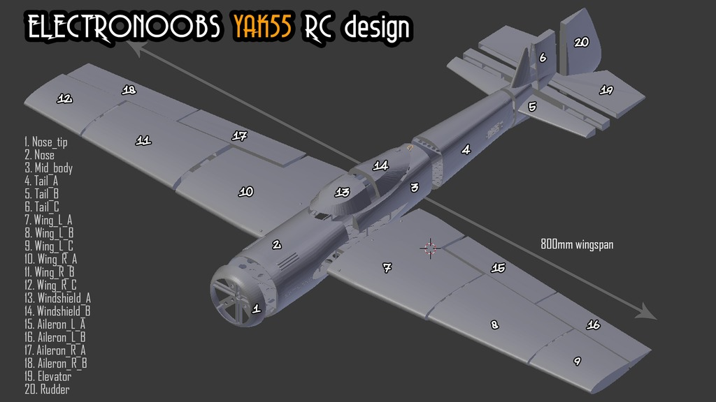 3D printed plane Yak55 free files by ELECTRONOOBS - Thingiverse