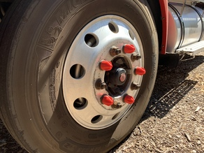 Tractor Trailer Threaded Lug Nut Cover in Magnum Hollow Point Style