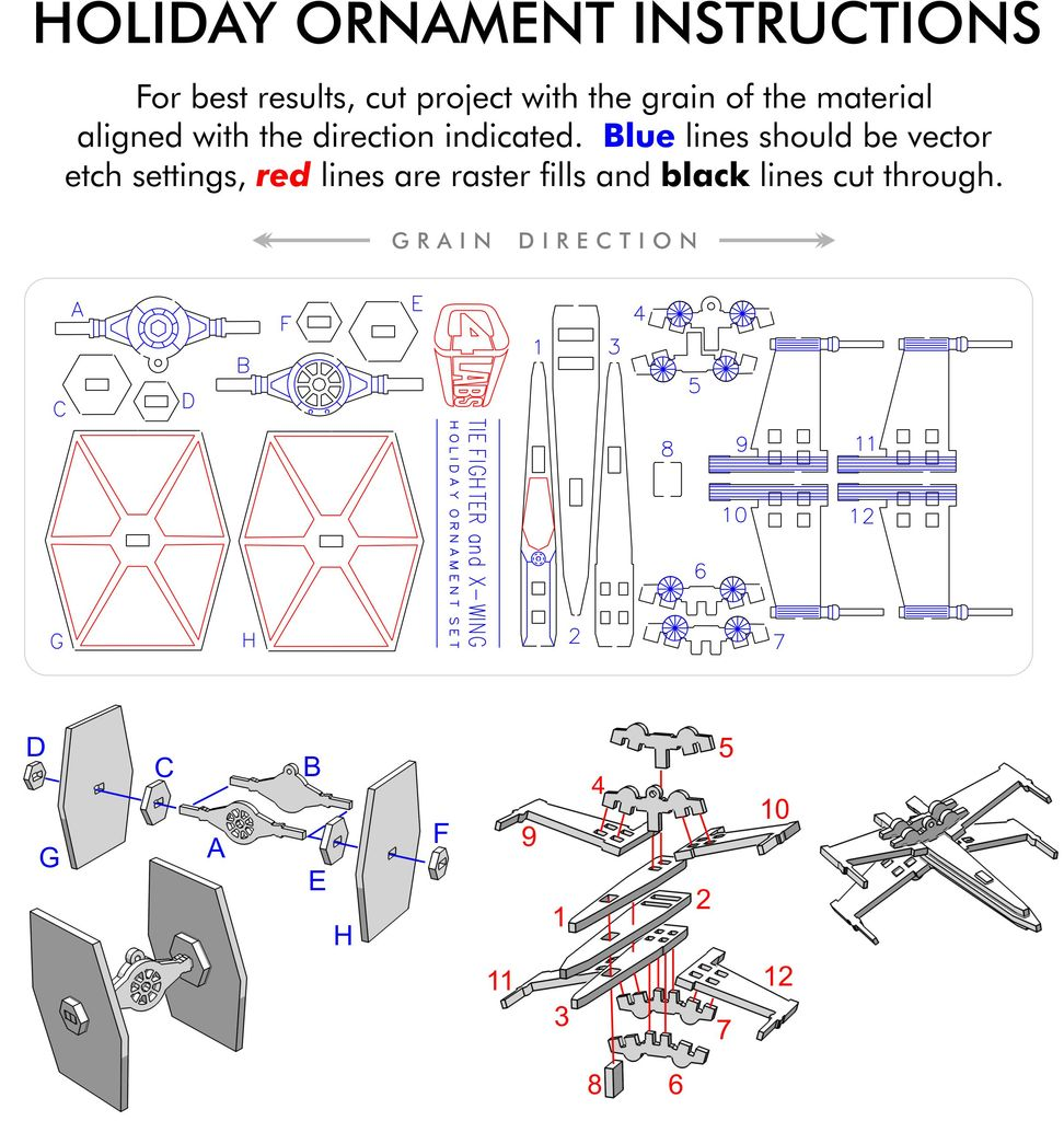 Tie Fighter & X-Wing Laser Cut Ornaments - C4 Labs by ... on