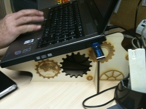 Dom's Laptop Stand with Steampunky / Cog pattern