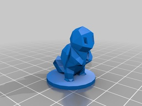 Low-Poly Squirtle with Base