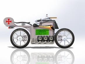 Dieselpunk Motorbike - Digital Table Clock Case
