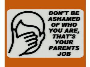DON'T BE ASHAMED OF WHO YOU ARE, THAT'S YOUR PARENTS JOB, SIGN