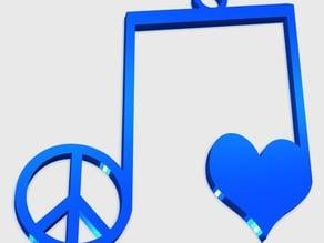 Peace Love Music Pendant
