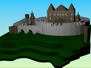 castle on a paddy field