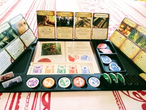Player board for Eldritch Horror that fits all components